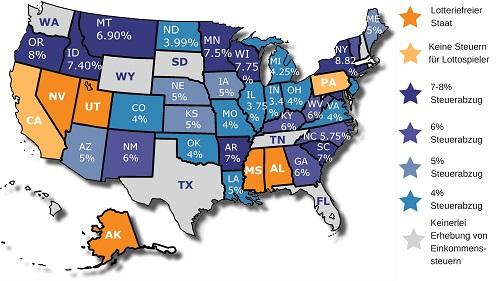 Lotteriesteuern pro US-Staat