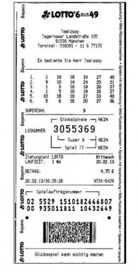 Германия-Лото-выигрышный билет